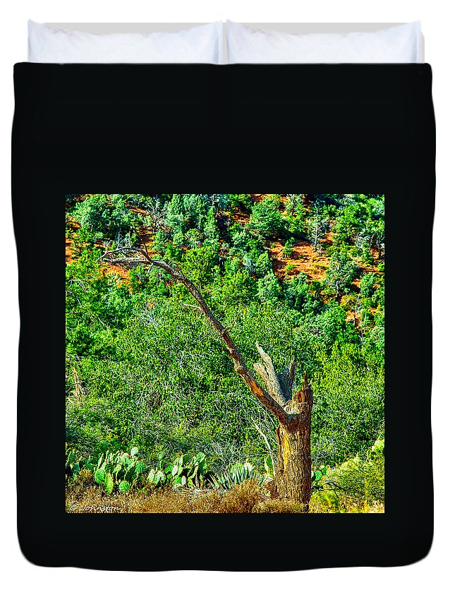 Arid Duvet Cover featuring the digital art Deep In The Desert Of Arizona Green Grows by Bob and Nadine Johnston