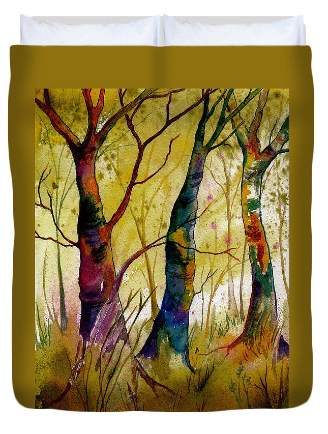 Landscape Duvet Cover featuring the painting Deep In The Woods by Brenda Owen