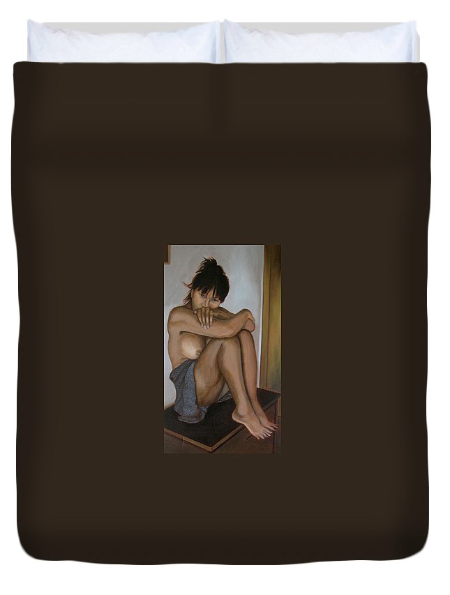 Figure Duvet Cover featuring the painting Deep In Thought by Thu Nguyen