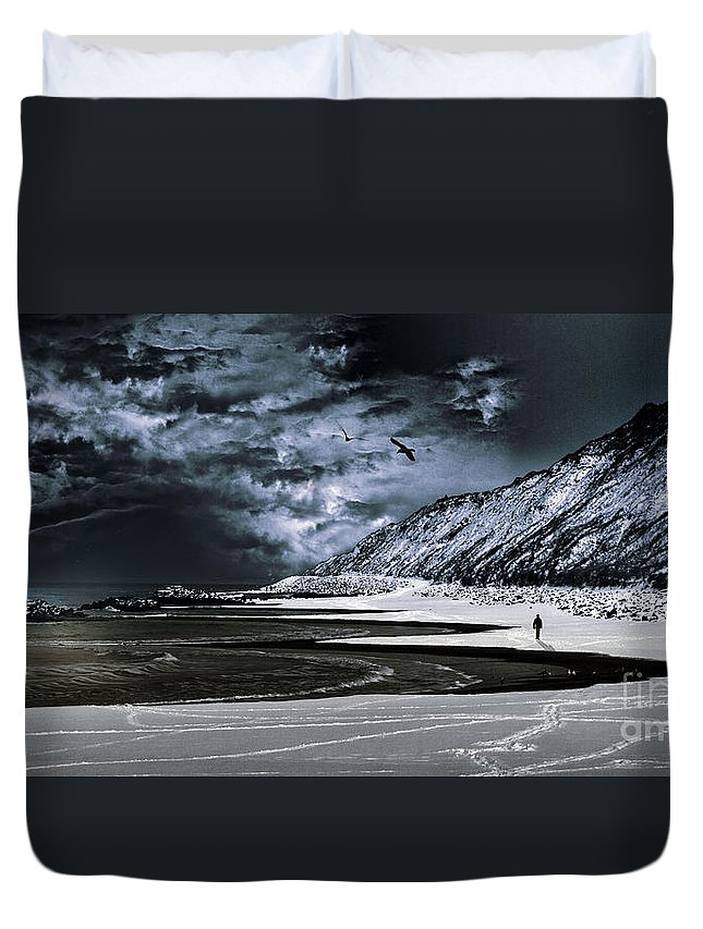 Adventure Duvet Cover featuring the photograph Deep Into That Darkness by Stelios Kleanthous
