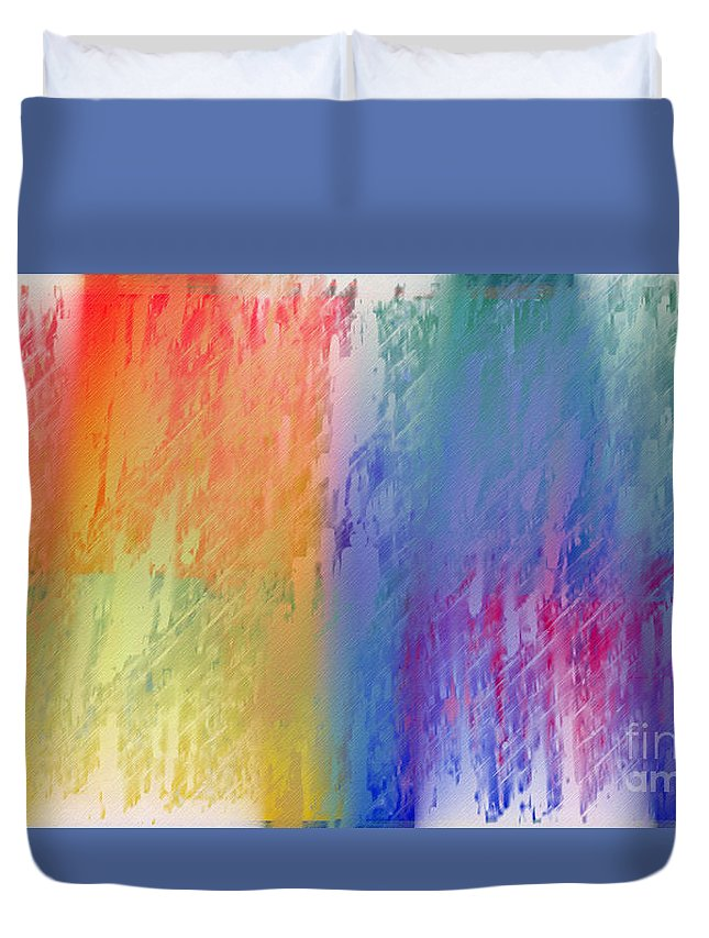 Abstract Duvet Cover featuring the digital art Deep Rich Sherbet Abstract by Andee Design