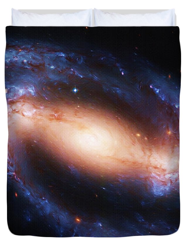 Space Duvet Cover featuring the painting Deep Space by Inspirowl Design