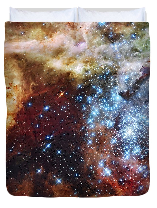 Nebula Duvet Cover featuring the photograph Deep Space Fire And Ice by Jennifer Rondinelli Reilly - Fine Art Photography