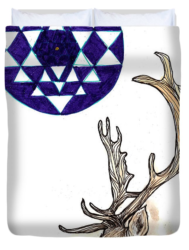 Deer Duvet Cover featuring the drawing Deer by Freja Friborg