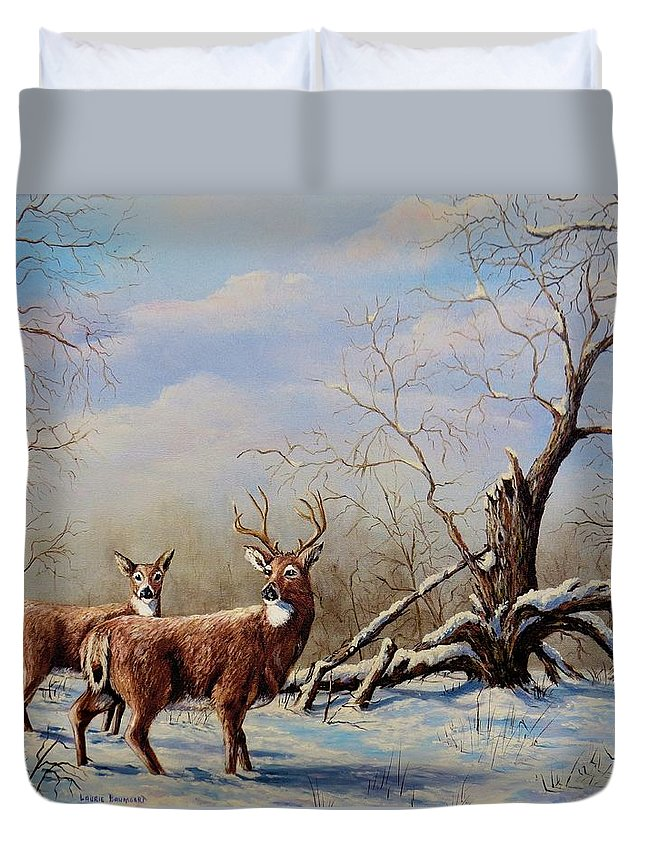 Deer Duvet Cover featuring the painting Deer In Crete by Laurine Baumgart