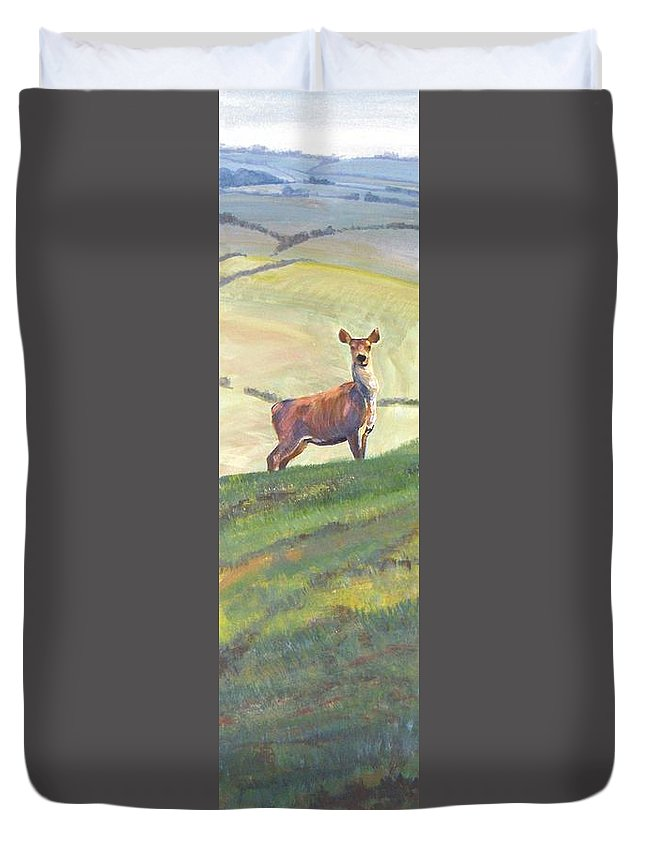 Deer Duvet Cover featuring the painting Deer by Mike Jory