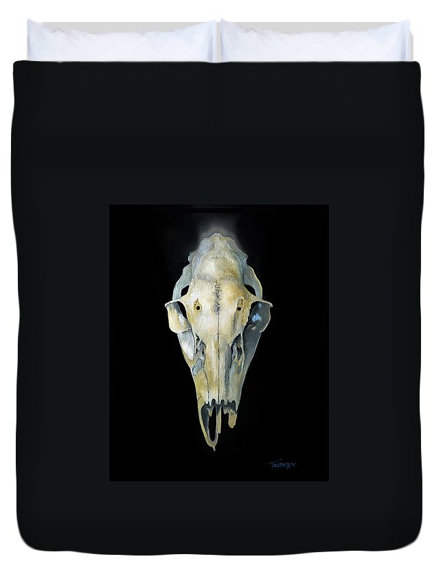 Deer Duvet Cover featuring the painting Deer Skull With Aura by Catherine Twomey