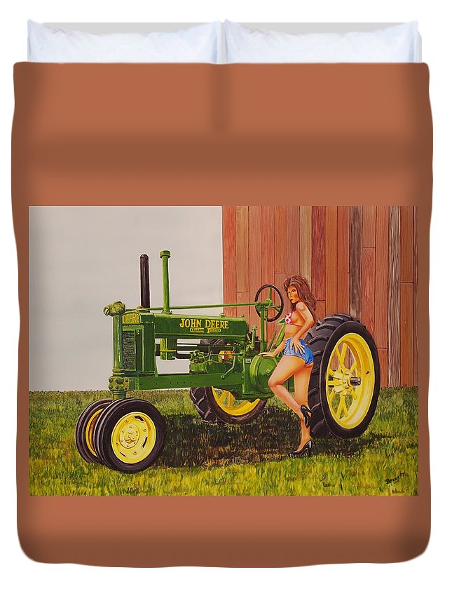 Tractor Duvet Cover featuring the painting 1938 Model B John Deere by Rick Bennett