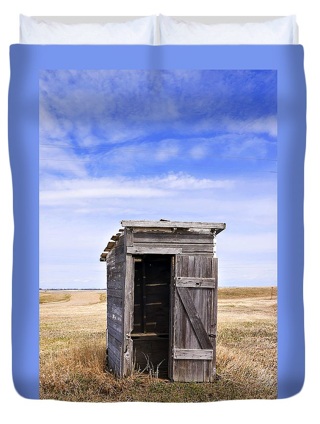 Toilet Duvet Cover featuring the photograph Defunct Outhouse At Rural Elementary School by Donald Erickson