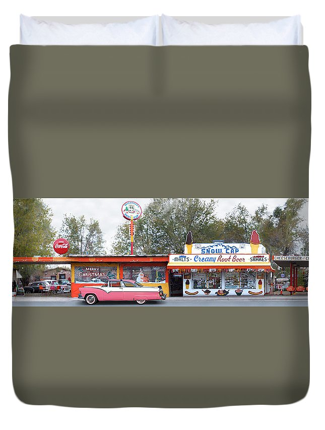 Drive In Duvet Cover featuring the photograph Delgadillo's Snow Cap Drive-in On Route 66 Panoramic by Mike McGlothlen