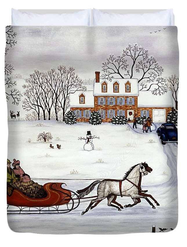 Snow Scene Duvet Cover featuring the painting Delivering Gifts by Linda Mears