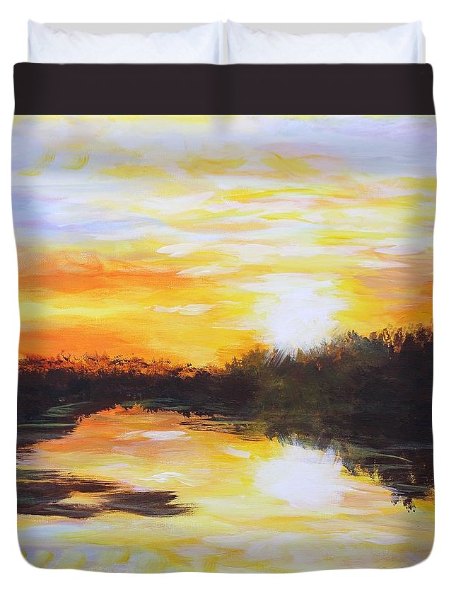 Sunset Duvet Cover featuring the painting Delta Bayou Sunset by Karl Wagner