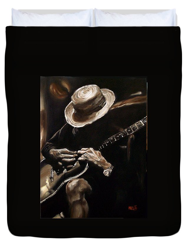 Music Duvet Cover featuring the painting Delta Blues by Em Kotoul