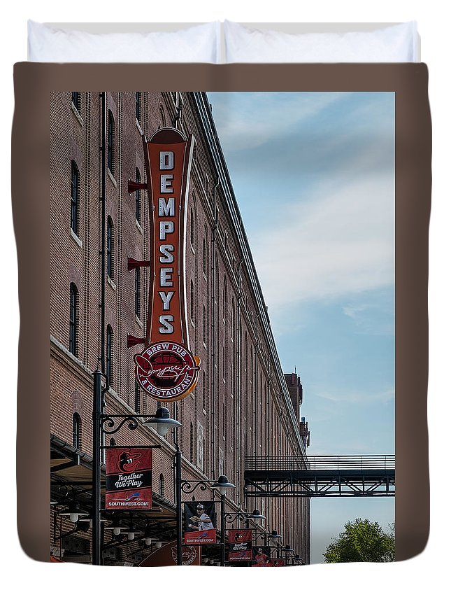Baltimore Duvet Cover featuring the photograph Dempseys Brew Pub by Susan Candelario