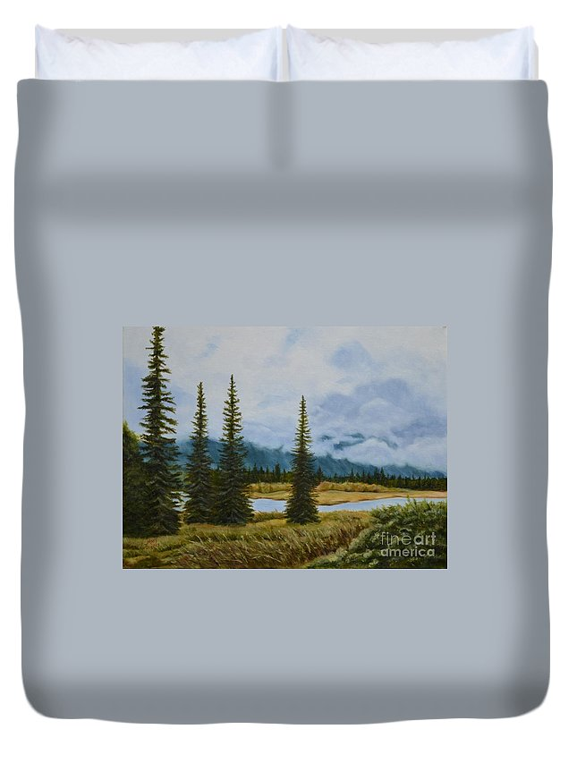 Usa Duvet Cover featuring the painting Denali Morning by Mary Rogers