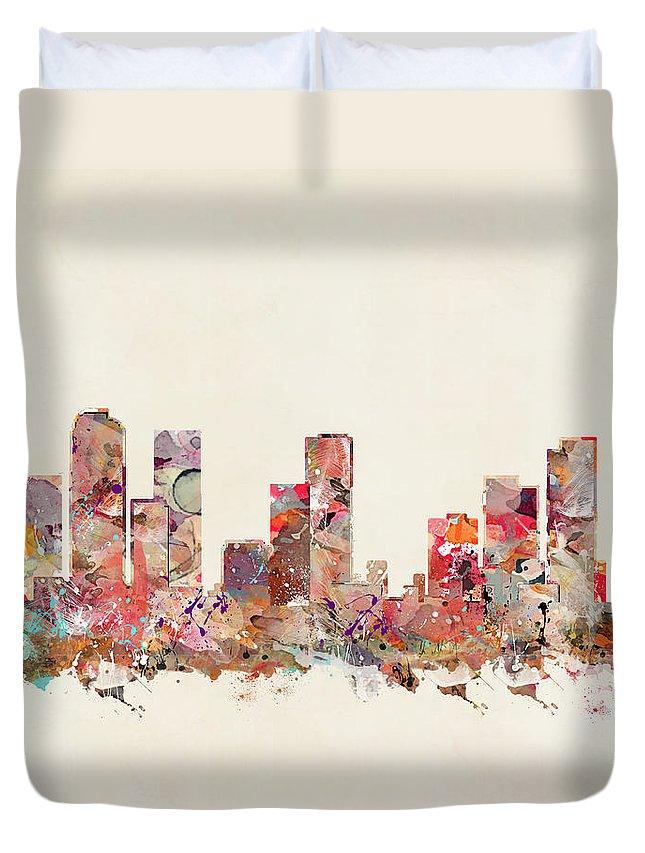 Denver Colorado Skyline Duvet Cover featuring the painting Denver Colorado by Bri Buckley