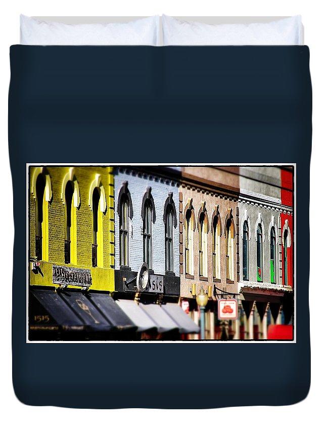 Tilt Shift Duvet Cover featuring the photograph Denver Market Street Tilt Shift by For Ninety One Days