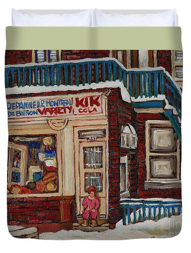 Montreal Depanneur Paintings Duvet Cover featuring the painting Depanneur Kik Cola Montreal by Carole Spandau