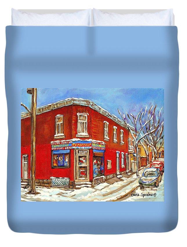 Montreal Duvet Cover featuring the painting Depanneur Surplus De Pain Point St Charles Montreal Winterscene Paintings Cspandau Originals Prints by Carole Spandau