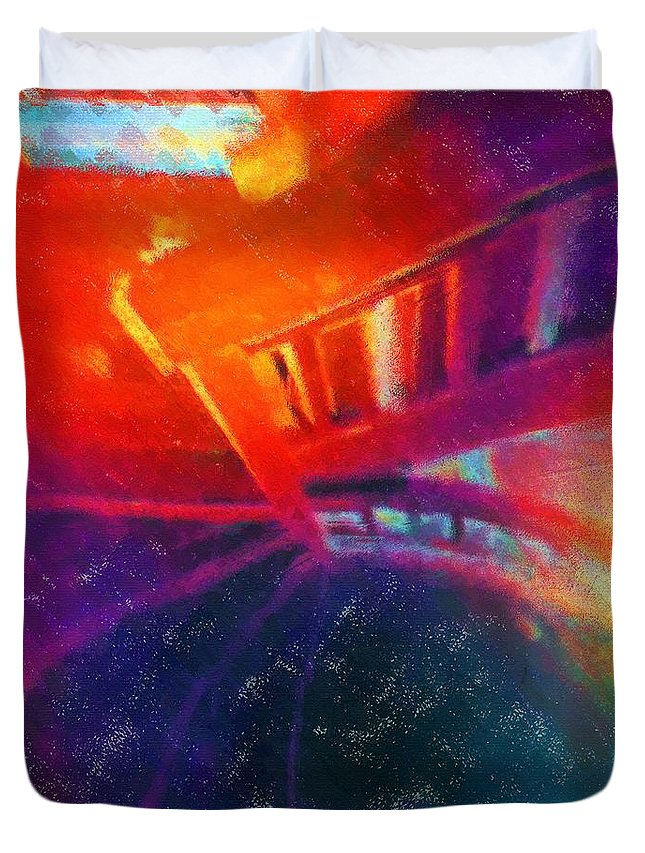 Stairs Duvet Cover featuring the painting Descending The Stardust Stairway by RC DeWinter