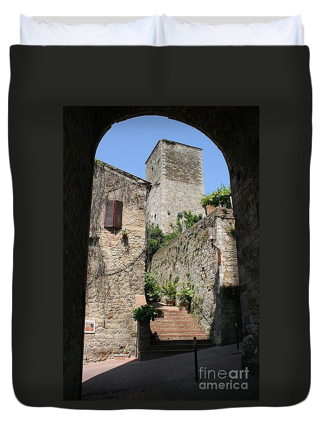 Way Duvet Cover featuring the photograph Desert Alley In San Gimignano by Christiane Schulze Art And Photography