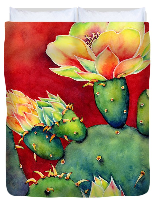 Cactus Duvet Cover featuring the painting Desert Bloom by Hailey E Herrera