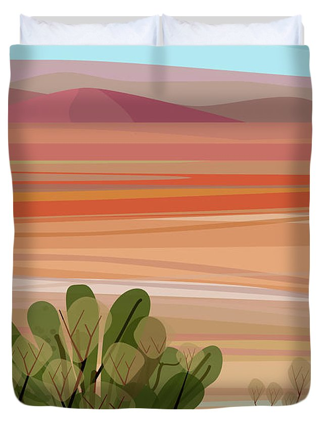 Saguaro Cactus Duvet Cover featuring the photograph Desert, Cactus Brush, Mountains In by Charles Harker