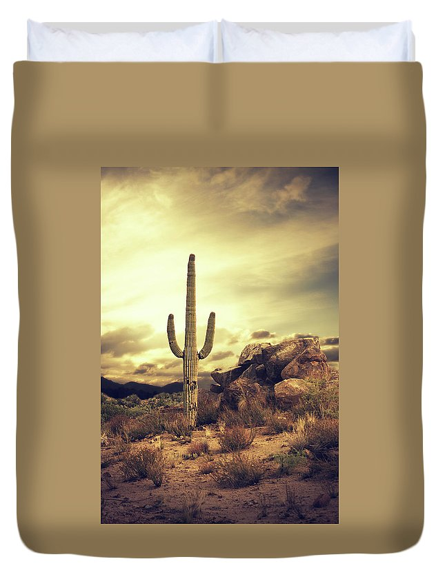 Saguaro Cactus Duvet Cover featuring the photograph Desert Cactus - Classic Southwest by Hillaryfox
