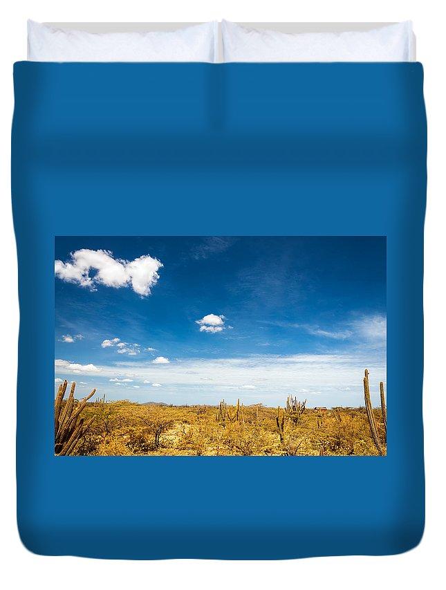 Desert Duvet Cover featuring the photograph Desert Landscape With Deep Blue Sky by Jess Kraft