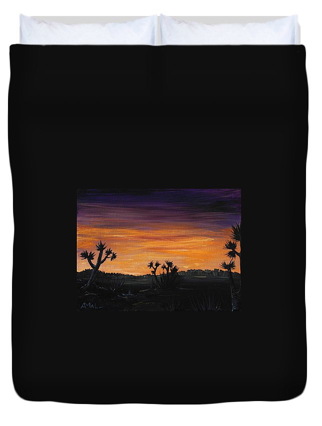 Calm Duvet Cover featuring the painting Desert Night by Anastasiya Malakhova