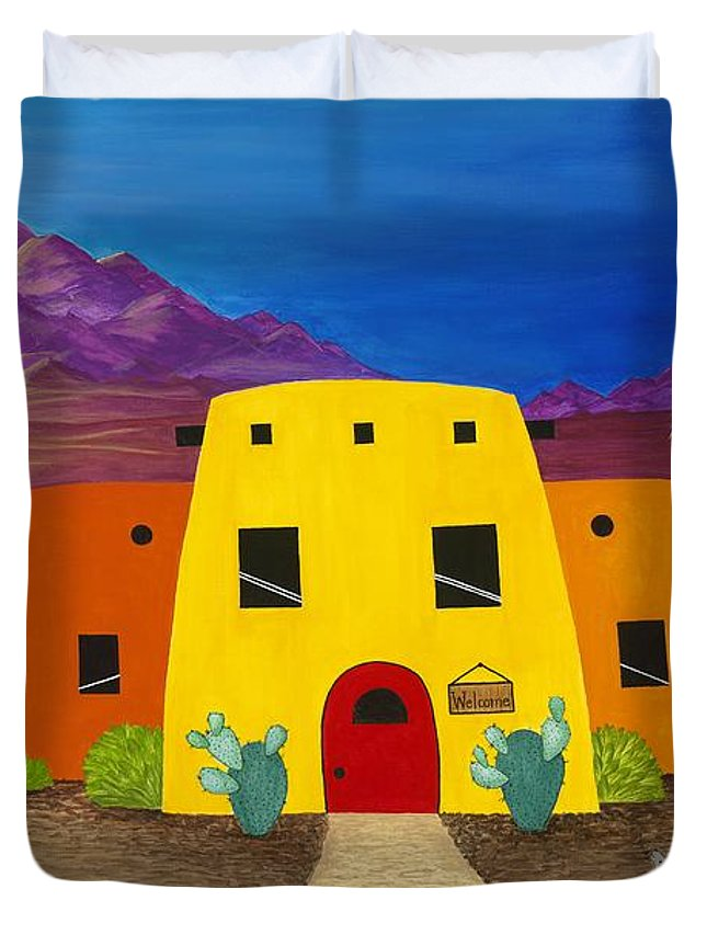 Whimsicle Desert Inn Has Vacancy Duvet Cover featuring the painting Desert Oasis by Carol Sabo