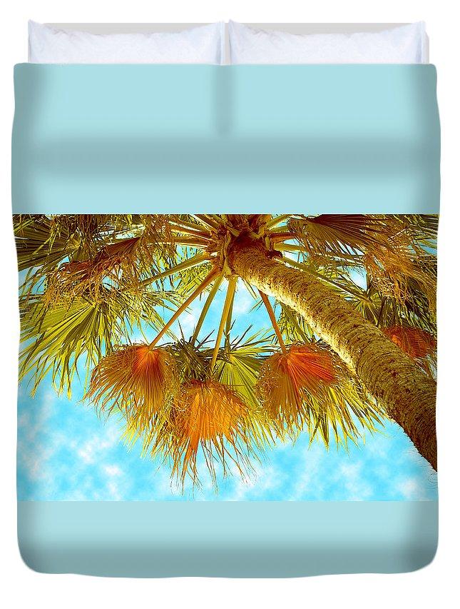 Palm Tree Duvet Cover featuring the photograph Desert Palm by Ben and Raisa Gertsberg