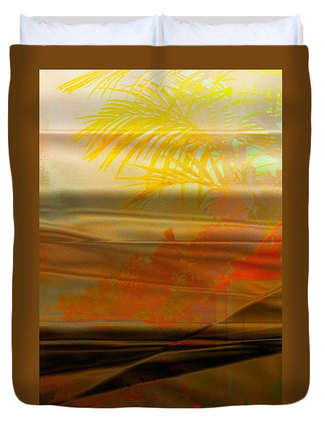 Desert Paradise Haven Sun Yellow Orange Retreat Sand palm Trees Memories Regret Longing Home Comfort Love Feelings Brown Vertical Portrait Abstract Landscape Duvet Cover featuring the digital art Desert Paradise by Paula Ayers