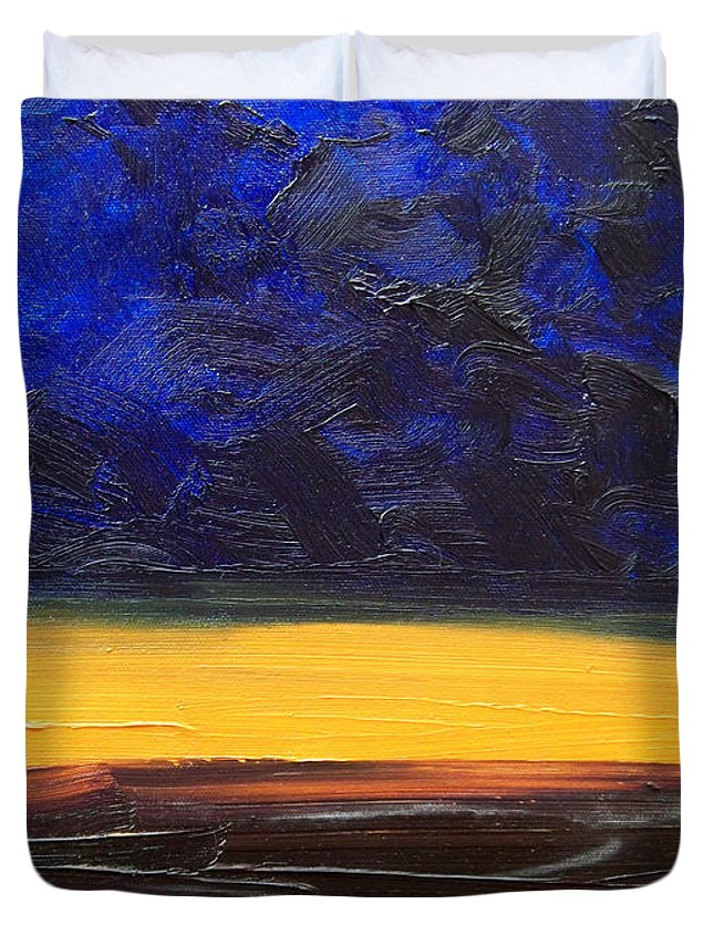 Landscape Duvet Cover featuring the painting Desert Plains by Sergey Bezhinets