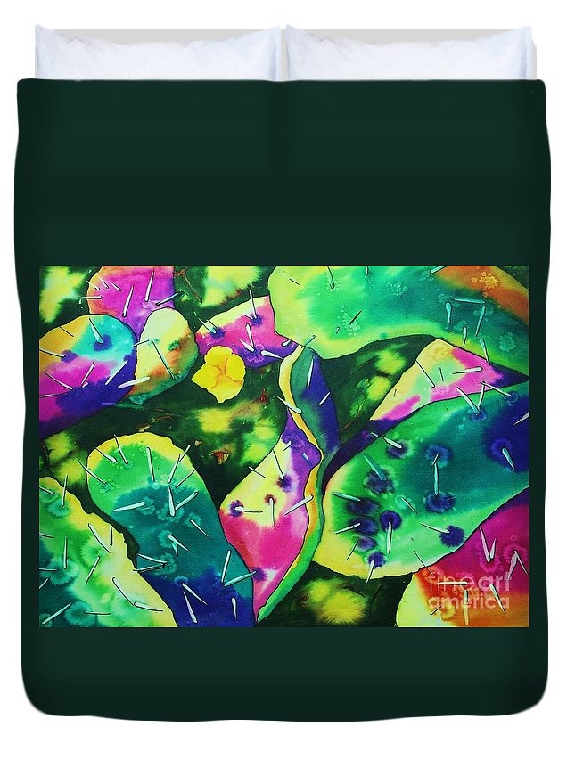 Poppy Duvet Cover featuring the painting Desert Poppy Among The Cactus by Camille Brighten