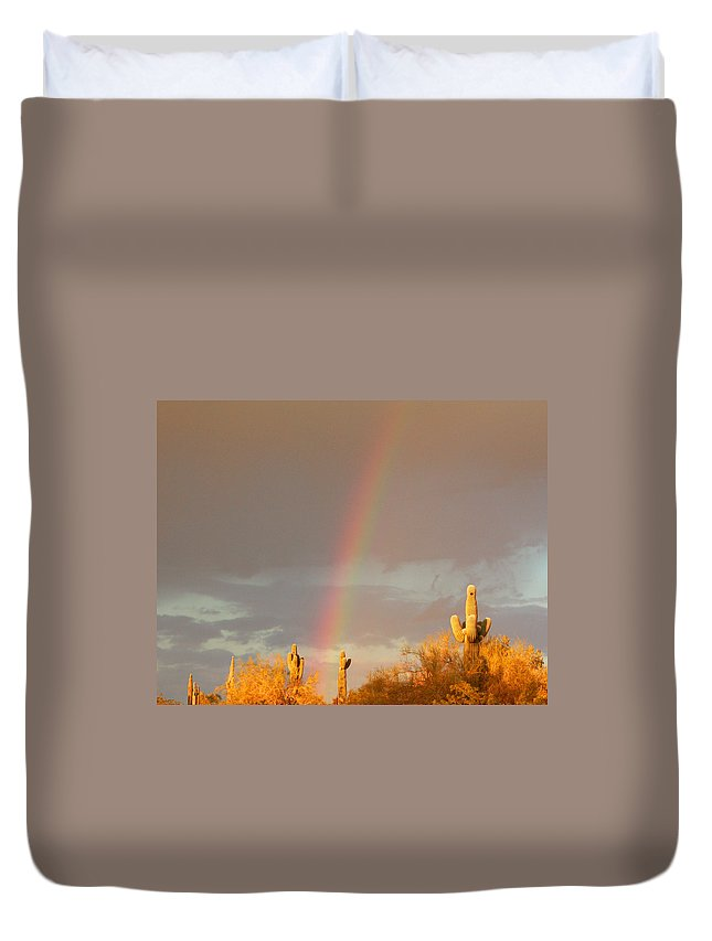 Rainbow Duvet Cover featuring the photograph Desert Promise by Laurie Larson