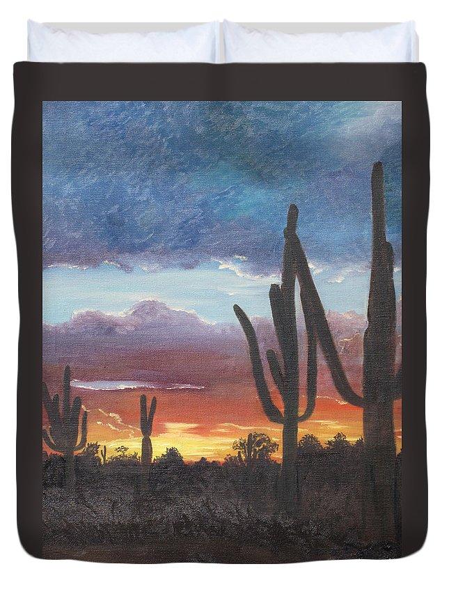 painted Desert Duvet Cover featuring the painting Desert Silhouette by Barbara McDevitt