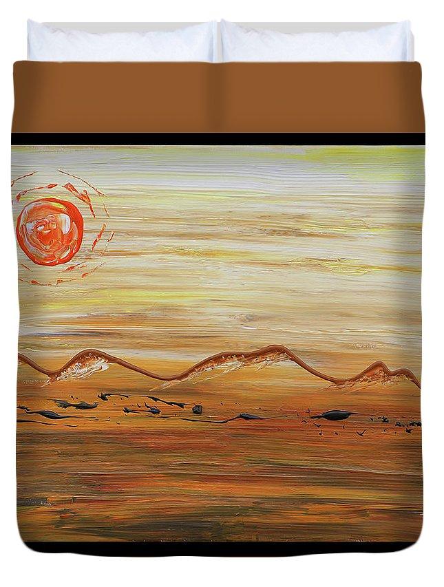 Desert Duvet Cover featuring the painting Desert Sun by Erik Tanghe