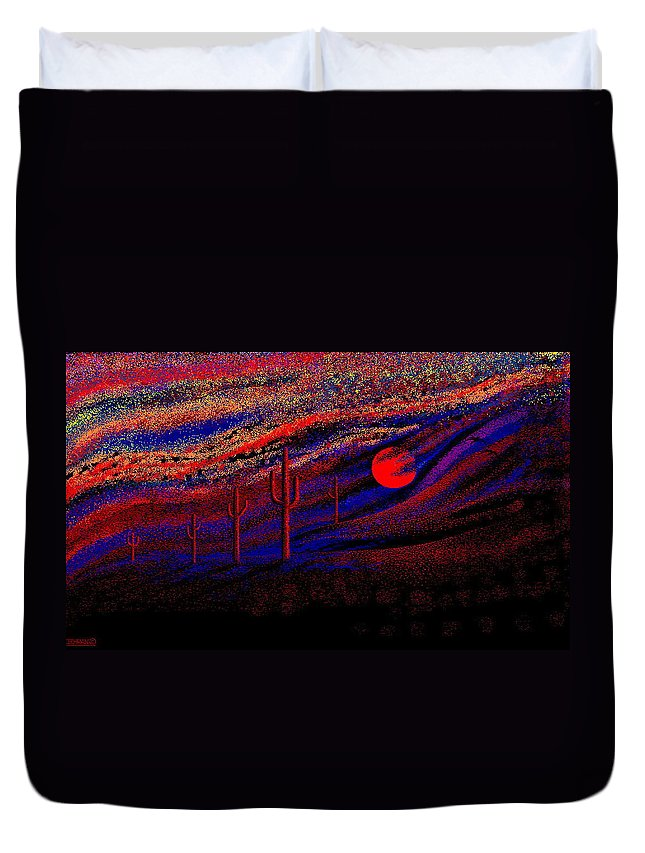 Desert Sunset Quickly Sketched In Four And Half Hours.... Duvet Cover featuring the digital art Desert Sunset by Larry Lehman