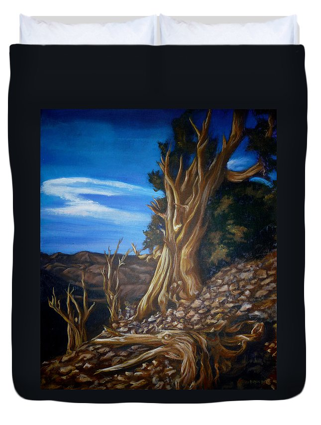Desert Duvet Cover featuring the painting Desert Tree by Bryan Bustard