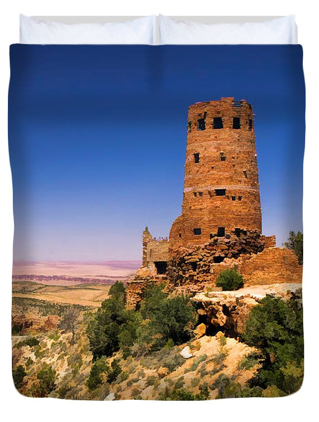 Grand Canyon Duvet Cover featuring the painting Desert View Watchtower by Christopher Arndt