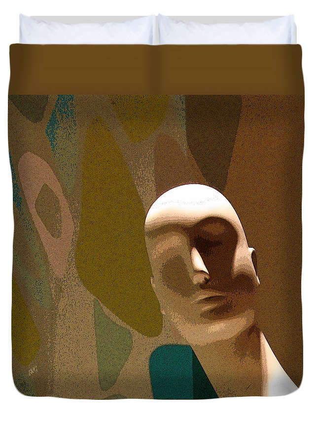 Portrait Duvet Cover featuring the digital art Design With Mannequin by Ben and Raisa Gertsberg