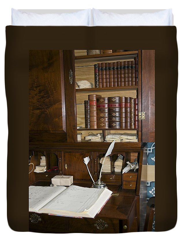 Colonial Desk Duvet Cover featuring the photograph Desk With Quill Pens by Sally Weigand
