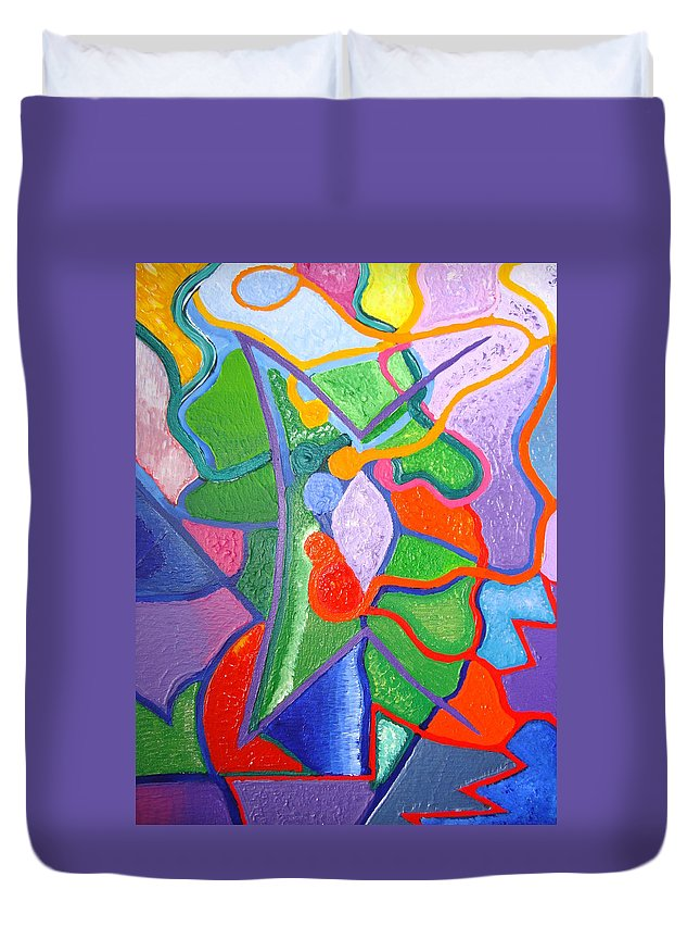 Abstract Painting Duvet Cover featuring the painting Destiny by Joanna Pilatowicz
