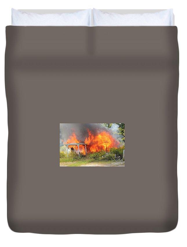 Fire Duvet Cover featuring the photograph Destructive Fire by Janice Byer