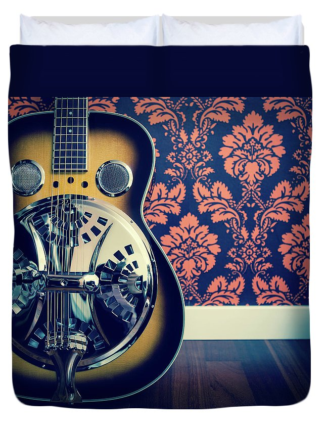 Rock Music Duvet Cover featuring the photograph Detail Of Resonator Guitar And Damask by Naphtalina