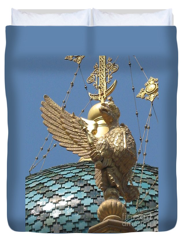 Golden Eagle Duvet Cover featuring the photograph Detail Russian Church II - Nice by Christiane Schulze Art And Photography