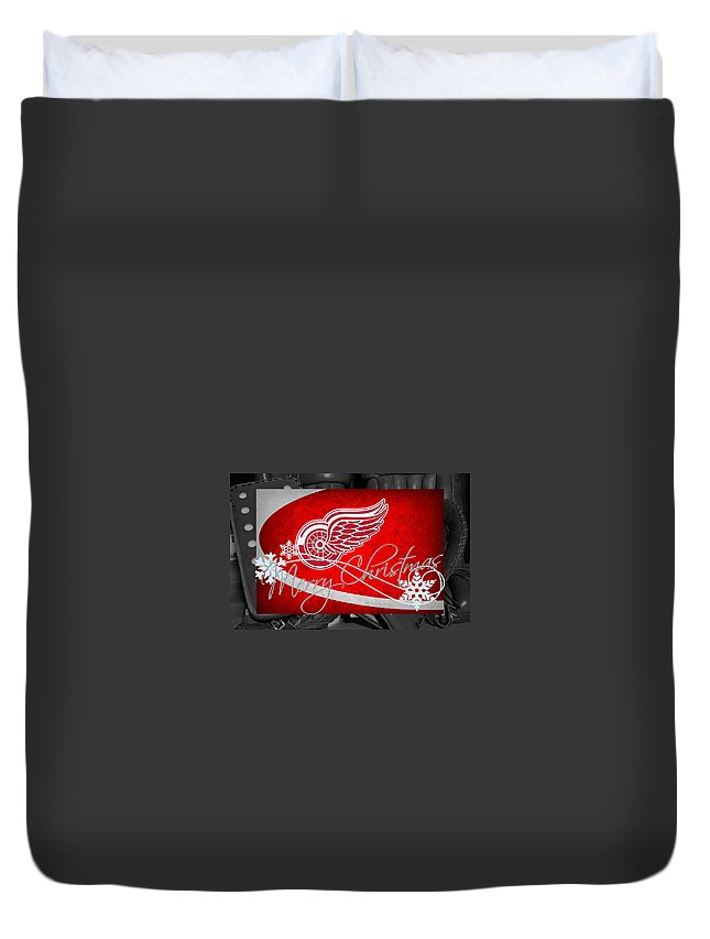 Red Wings Duvet Cover featuring the photograph Detroit Red Wings Christmas by Joe Hamilton