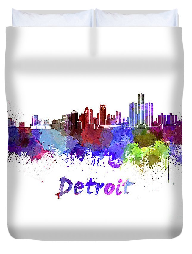 Detroit Duvet Cover featuring the painting Detroit Skyline In Watercolor by Pablo Romero