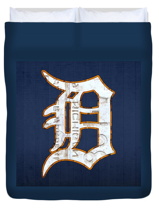 Detroit Tigers Baseball Old English D Logo License Plate Art Sports Michigan License Plate Map Duvet Cover featuring the mixed media Detroit Tigers Baseball Old English D Logo License Plate Art by Design Turnpike